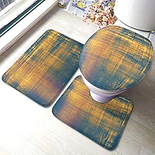 Art Bathmat,Abstract Distressed Blue And Golden