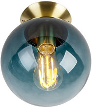 Art Deco Ceiling Lamp 20cm Brass with Ocean Blue