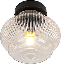 Art deco ceiling lamp black with clear glass -