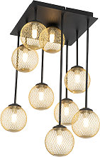 Art Deco ceiling lamp black with gold 9-lights -