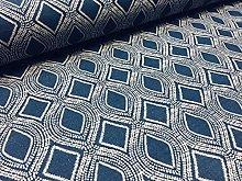 Art Deco Damask Floral Fabric Navy Blue Curtain