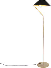 Art deco floor lamp gold with black shade - Knick