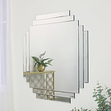 Art Deco Frameless Wall Mirror 85cm x 85cm