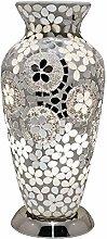 Art Deco Mirrored Flower Mosaic Glass Vintage Vase