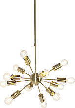 Art Deco Pendant Lamp 12 Gold with Adjustable Rod