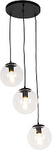 Art Deco Pendant Lamp Black with 3 Clear Shades -