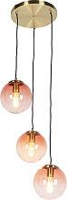 Art Deco Pendant Lamp Brass with 3 Dark Pink