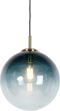 Art Deco Pendant Lamp Brass with 33cm Ocean Blue