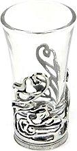 Art Deco Swirl - Solid Pewter Shot Glass Holder