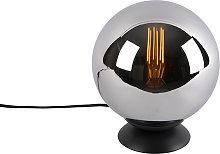 Art Deco Table Lamp 20cm Black with Smoke Shade -