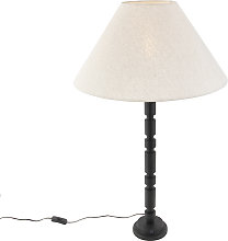 Art deco table lamp with linen shade beige 50 cm -