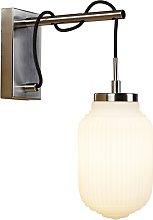 Art Deco wall lamp steel with opal glass - Bolsena