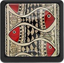 Art Fish Pattern, 3 Pcs Crystal Class Cabinet