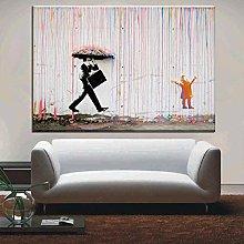 Art graffiti colorful rain print on canvas modern