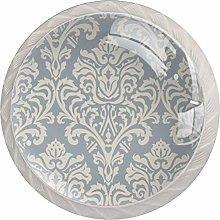 Art Pattern Gray 4 Pieces Crystal Glass Wardrobe