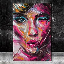 Art print Abstract Woman Face Oil Paintings Print