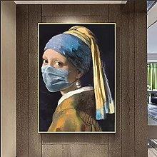 Art print Famous Girl with Wearing Pearl Earrings