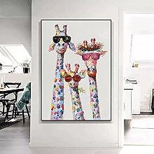 Art print Giraffe Family with Glasses Canvas