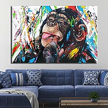 Art print Graffiti Cute Monkey Canvas Paintings
