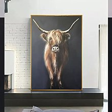Art print Highland Cow Animal Canvas Painting