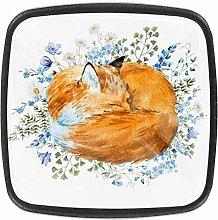 Art Sleeping Fox with Flower Animal Drawer Pulls
