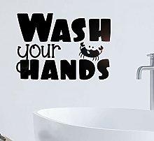 Art Word Wall Decals Hand Washing Vinyl Door and