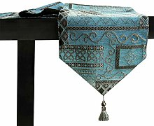 Artbisons Table Runner Blue Abstract 72x13 Thickly