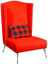 Artdeko Wingback Chair Happy Barok Upholstery: Red