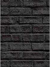 Arthouse Black Brick Wallpaper