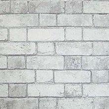 Arthouse Brick Wallpaper - White & Neutral Soft