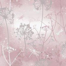 Arthouse Damselfly Blush Pink Wallpaper