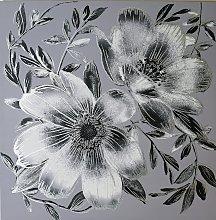 Arthouse Dark Intense Silver Floral Canvas Print -