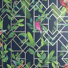 Arthouse Deco Tropical Navy Blue Wallpaper