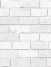 Arthouse Diamond Brick White Wallpaper