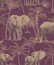 Arthouse Elephant Aubergine Purple Wallpaper