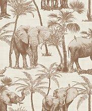 Arthouse Elephant Grove Coffee Brown Wallpaper