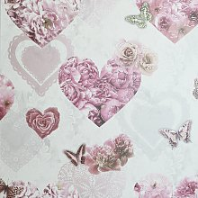 Arthouse Floral Hearts Pink Wallpaper