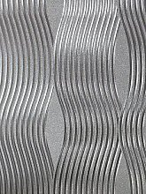 Arthouse Foil Silver Wave Wallpaper