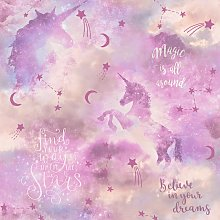 Arthouse Galaxy Unicorn Blush Pink Wallpaper