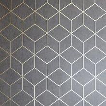 Arthouse Geo Charcoal Black Wallpaper