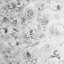 Arthouse Glitter Bloom Silver Wallpaper