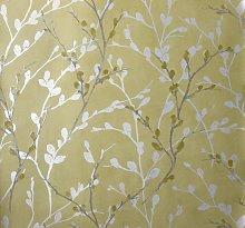 Arthouse Glitter Willow Ochre Yellow Wallpaper