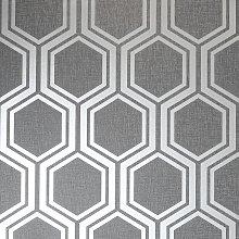 Arthouse Hexagon Gunmetal Grey Wallpaper