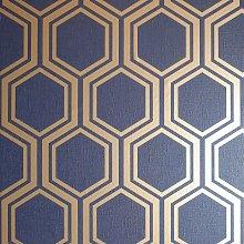 Arthouse Hexagon Navy Blue Wallpaper