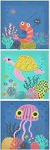 Arthouse Kids Ocean Trio Canvas Print - 60x20cm