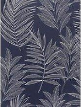 Arthouse Linear Leaves Navy Wallpaper