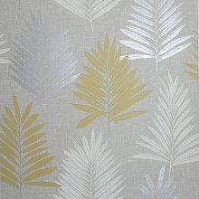 Arthouse Linen Palm Ochre Grey Yellow Wallpaper