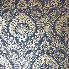 Arthouse Luxe Damask Navy Blue Gold Wallpaper