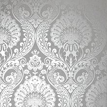 Arthouse Luxe Damask Silver Wallpaper