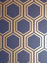 Arthouse Luxe Hexagon Navy &Amp; Gold Wallpaper